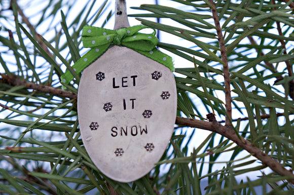 Let It Snow with Snowflakes | Stamped Spoon Ornament