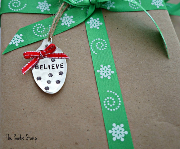 Believe with snowflakes | Stamped Spoon Ornament