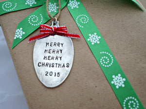 Merry Merry Merry Christmas | Stamped Spoon Ornament