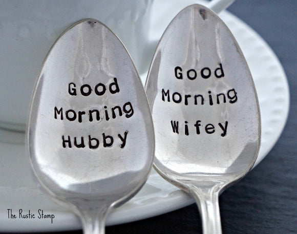 Good Morning Hubby, Good Morning Wifey | Stamped Spoon Set