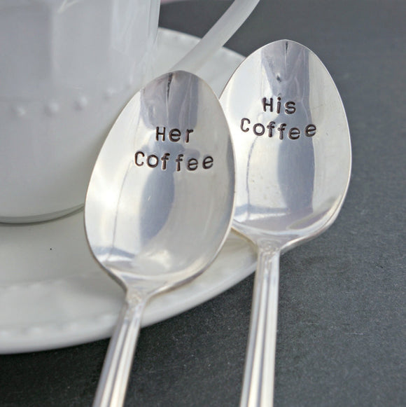 His Coffee, Her Coffee | Stamped Spoon Set