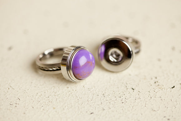 Snap Button Ring - Stainless Steel Rope Style