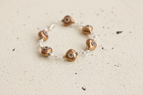 Copper Two Tone Beaded Bracelet