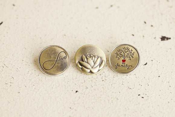 Snap Button - Bronze Love, Lotus, Family