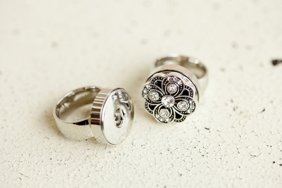 Snap Button Ring - Stainless Steel Smooth