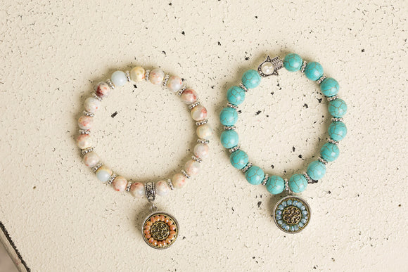 Snap Button Bracelet - Natural Stone Stretchy, Turquoise Stone Stretchy