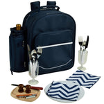 Deluxe Equipped 2 Person Picnic Backpack -Navy/Chevron