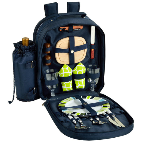 Deluxe Equipped 2 Person Picnic Backpack - Navy/Trellis Green