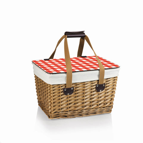Canasta-Natural Flat Lid Basket Willow Red Check Lid