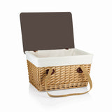 Canasta Grande-Natural Flat Lid Basket Willow Red Check Lid