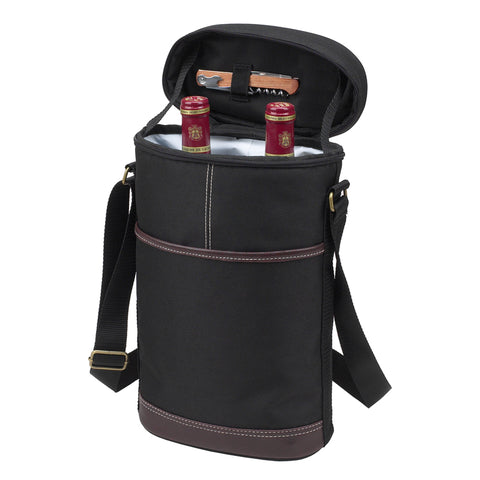 Travel Two Bottle Wine Tote -Black