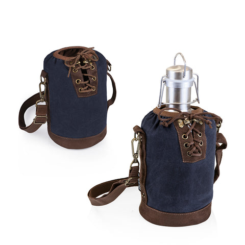 Growler Tote Navy and Brown with 64-oz. Stainless Steel Growler