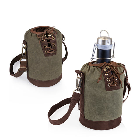 Growler Tote - Khaki and Brown with 64-oz. Stainless Steel Growler - Matte Black