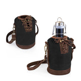 Growler Tote - Black and Brown with 64-oz. Stainless Steel Growler - Matte Black