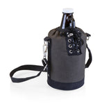 Growler Tote - Grey and Black with 64-oz. Glass Growler - Amber