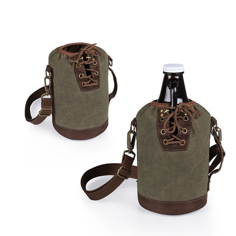 Growler Tote with 64 oz. Glass Growler - Khaki Green