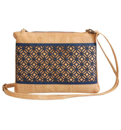 Beige and Blue Cork Purse with Strap