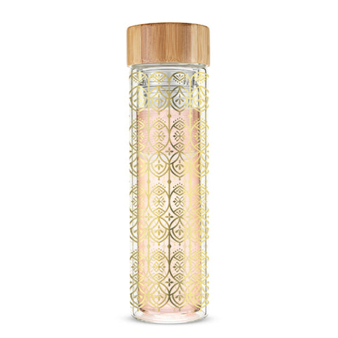 Blair™ Arabesque Gold Glass Travel Infuser Mug by Pinky Up®
