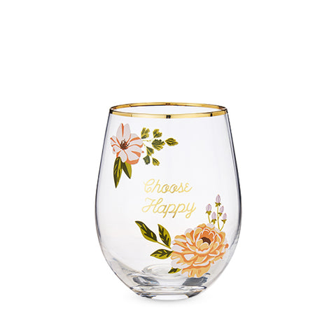 Choose Happy Stemless Wine Glass by Twine®
