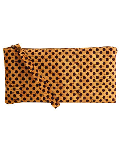 Blue Polka Dotted Pochette cork clutch purse