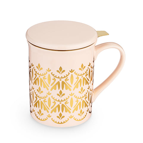 Annette™ Casablanca Pink Ceramic Tea Mug & Infuser by Pinky