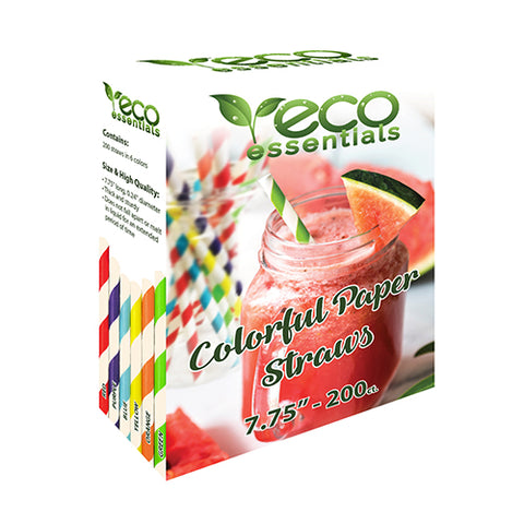 Eco Essentials Colorful Paper Straws - 200 count