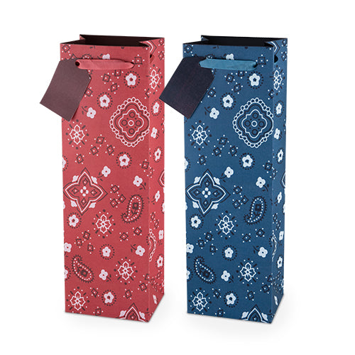 Assorted Red & Blue Paisley 750ml Bottle Bag By Cakewalk