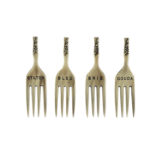 Chateau: Brushed Brass Finish Fork Cheese Markers by Twine
