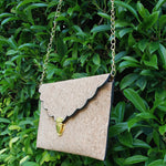 Scalloped Cork Women's Crossbody Clutch