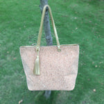 Solid Cork Tote With Tassel Decor