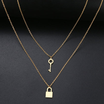Lock and Key Necklace-Earrings-The Royal Bash