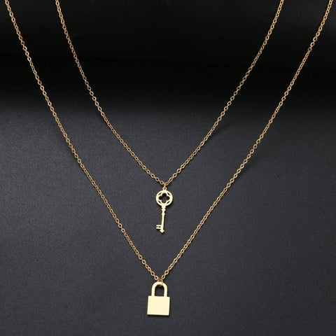 Lock and Key Necklace-Necklaces-The Royal Bash