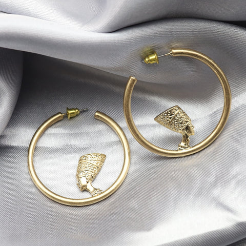 Queen Nefertiti Hoop Earrings-Earrings-The Royal Bash