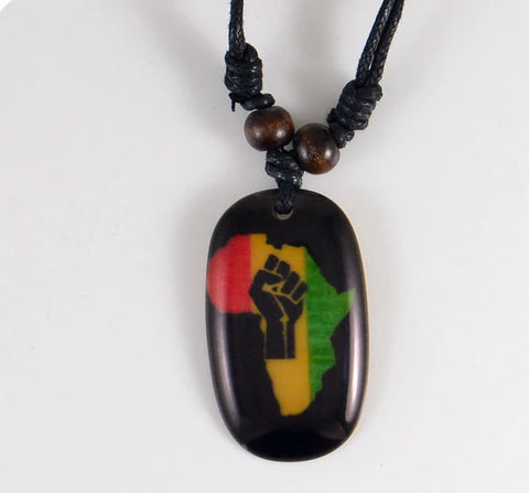 Africa Map Fist Resin Necklace-Necklaces-The Royal Bash