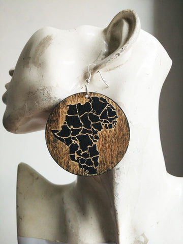 Beautiful Black Natural wooden Engraved African Map Earrings The