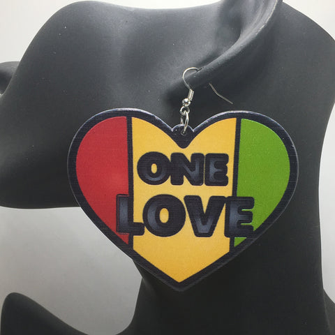 "3"" One Love Heart Wooden Earrings-Earrings-The Royal Bash"
