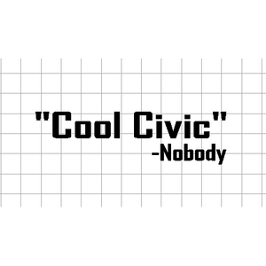 Fast Lane Graphix: Cool Civic -Nobody Sticker,Matte White, stickers, decals, vinyl, custom, car, love, automotive, cheap, cool, Graphics, decal, nice