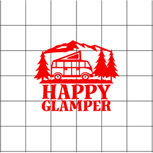 Fast Lane Graphix: Happy Glamper Sticker,Matte White,stickers, decals, vinyl, custom, car, love, automotive, cheap, cool, Graphics, decal