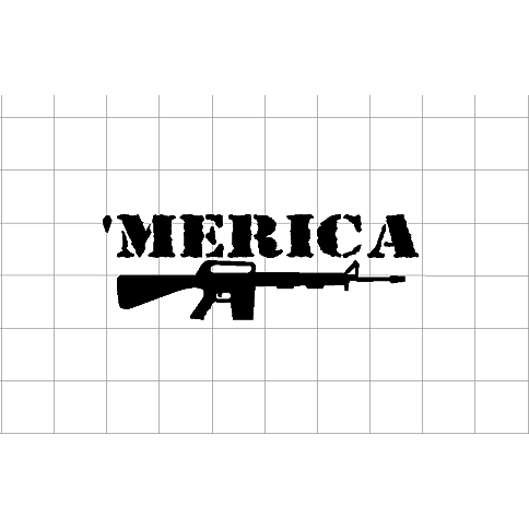 Fast Lane Graphix: 'Merica Gun Sticker,White,stickers, decals, vinyl, custom, car, love, automotive, cheap, cool, Graphics, decal