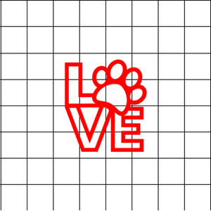 Fast Lane Graphix: Love Sign With Paw Print V2 Sticker,White,stickers, decals, vinyl, custom, car, love, automotive, cheap, cool, Graphics, decal