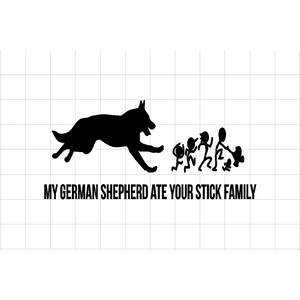 Fast Lane Graphix: My German Shepherd Ate Your Stick Figure Family Sticker,Carbon Fiber, stickers, decals, vinyl, custom, car, love, automotive, cheap, cool, Graphics, decal, nice
