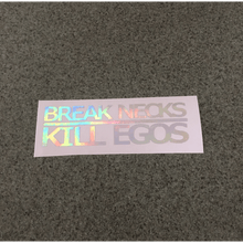Fast Lane Graphix: Break Necks Kill Egos Sticker,Holographic Silver Chrome, stickers, decals, vinyl, custom, car, love, automotive, cheap, cool, Graphics, decal, nice