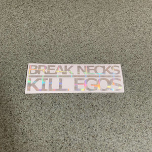 Fast Lane Graphix: Break Necks Kill Egos Sticker,Holographic Plaid Silver Chrome, stickers, decals, vinyl, custom, car, love, automotive, cheap, cool, Graphics, decal, nice