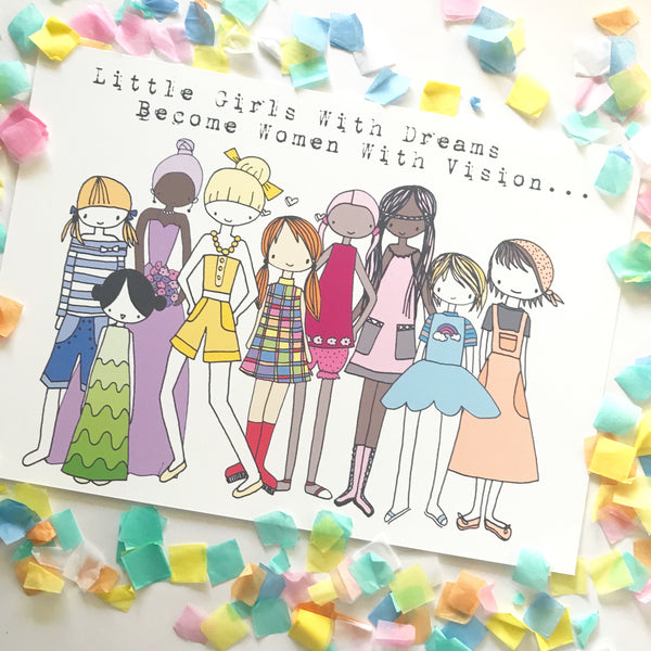 Illustration Print - Little Girls With Dreams
