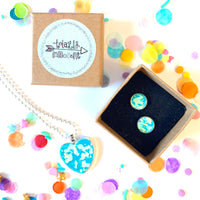 Jewellery Gift Set - Clip On Earrings and Necklace - Aqua