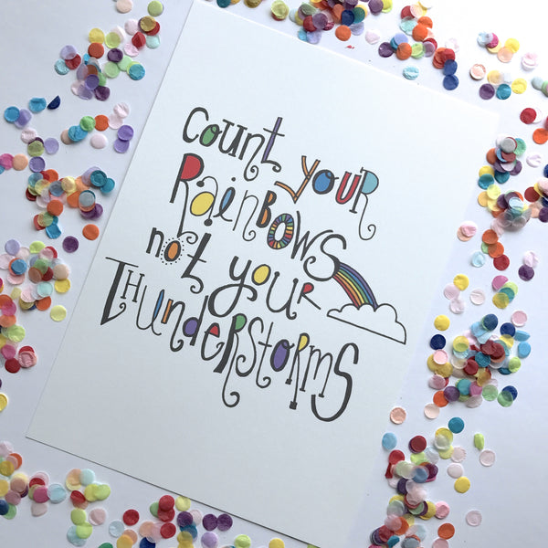 Illustration Print - Count Your Rainbows Typography
