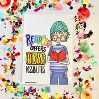 Illustration Print - Reading Offers Endless Possibilities