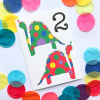 "Number 2 ""DINOSAUR"" Birthday Card"