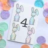"Number 4 ""RABBITS"" Birthday Card"