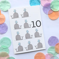 "Number 10 ""WHALES"" Birthday Card"